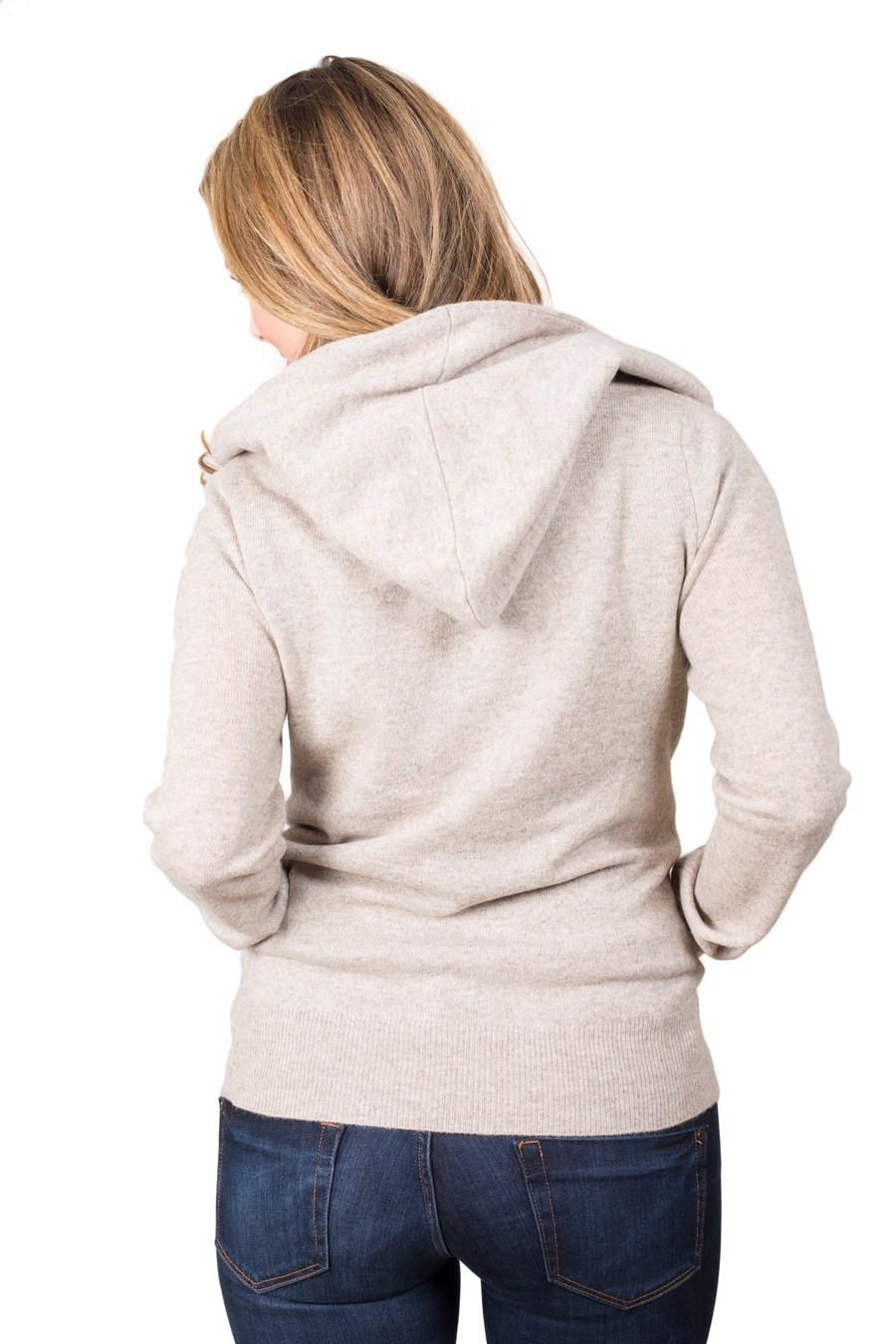 pull capuche pur cashmere femme avec poche kangourou