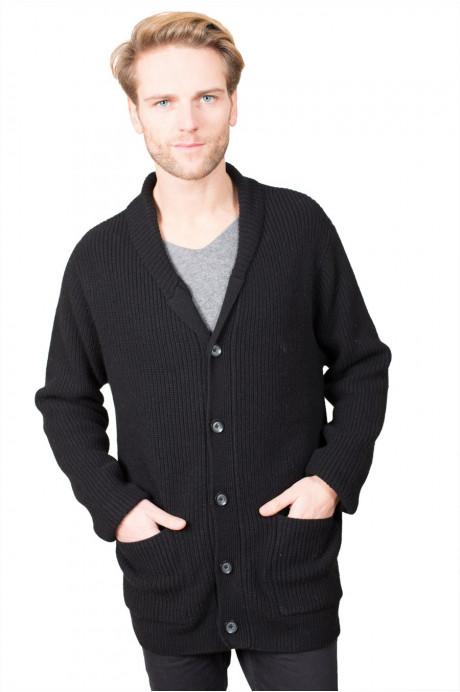 Gilet épais en pur cashmere pour homme tricoté en côtes anglaise