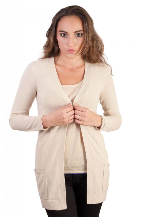 Veste en pure cashmere femme avec  poches sans boutons
