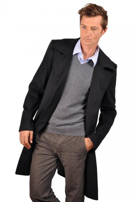 Manteau cachemire homme KALIFE noir devant