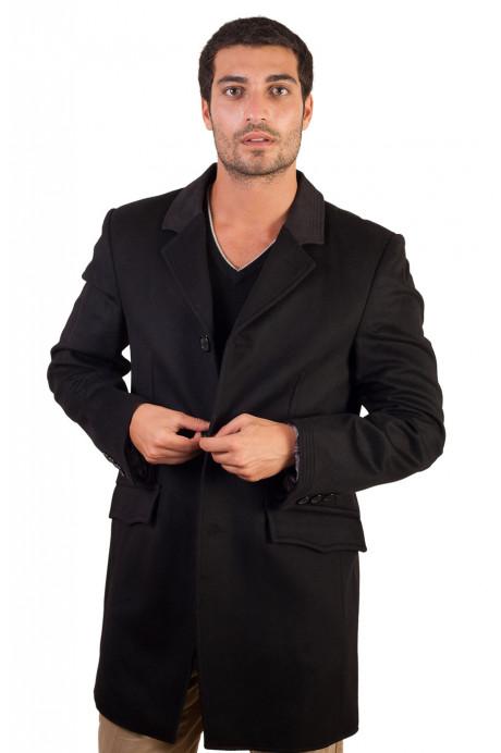 Manteau cachemire laine noir pour homme