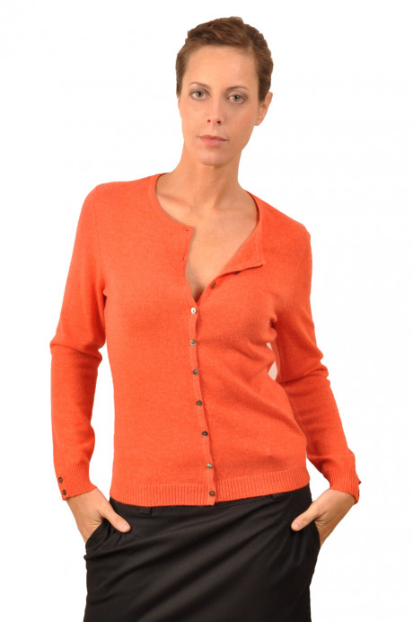 Cardigan cachemire femme ANGEL orange devant