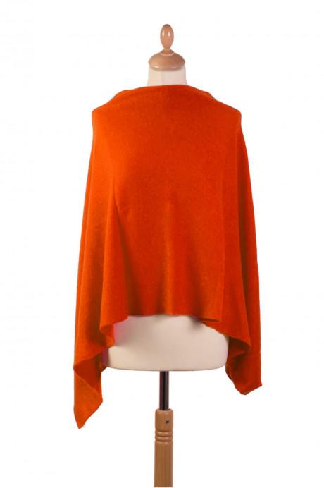 Poncho cachemire HUGUETTE Orange