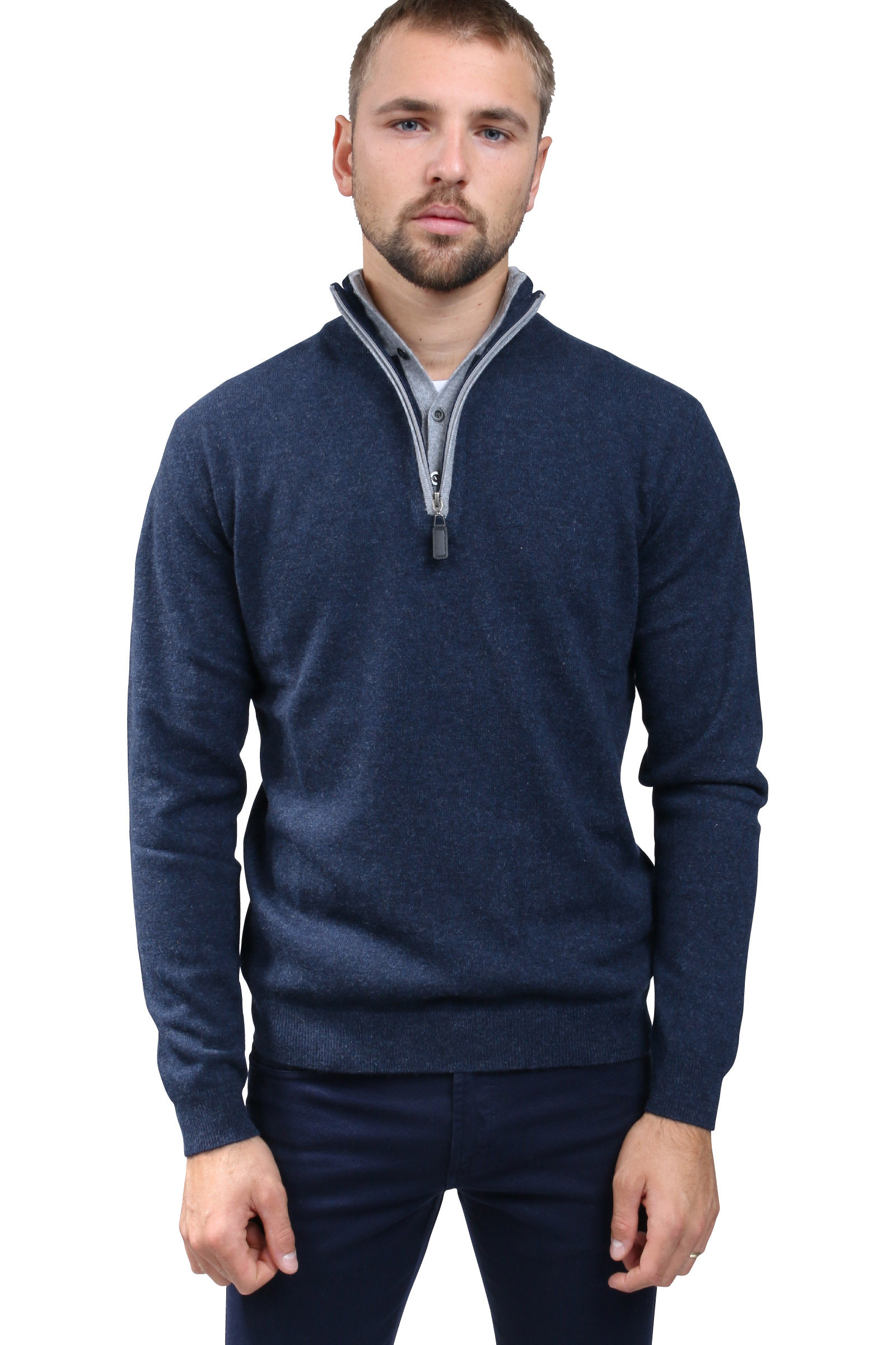 Pull camionneur cachemire double col DIEGO GARCIA