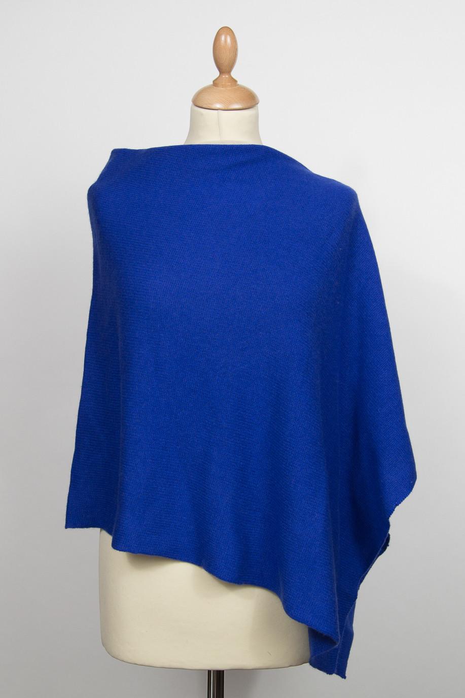 Poncho 4 fils pur cachemire bleu vif ELECTRA