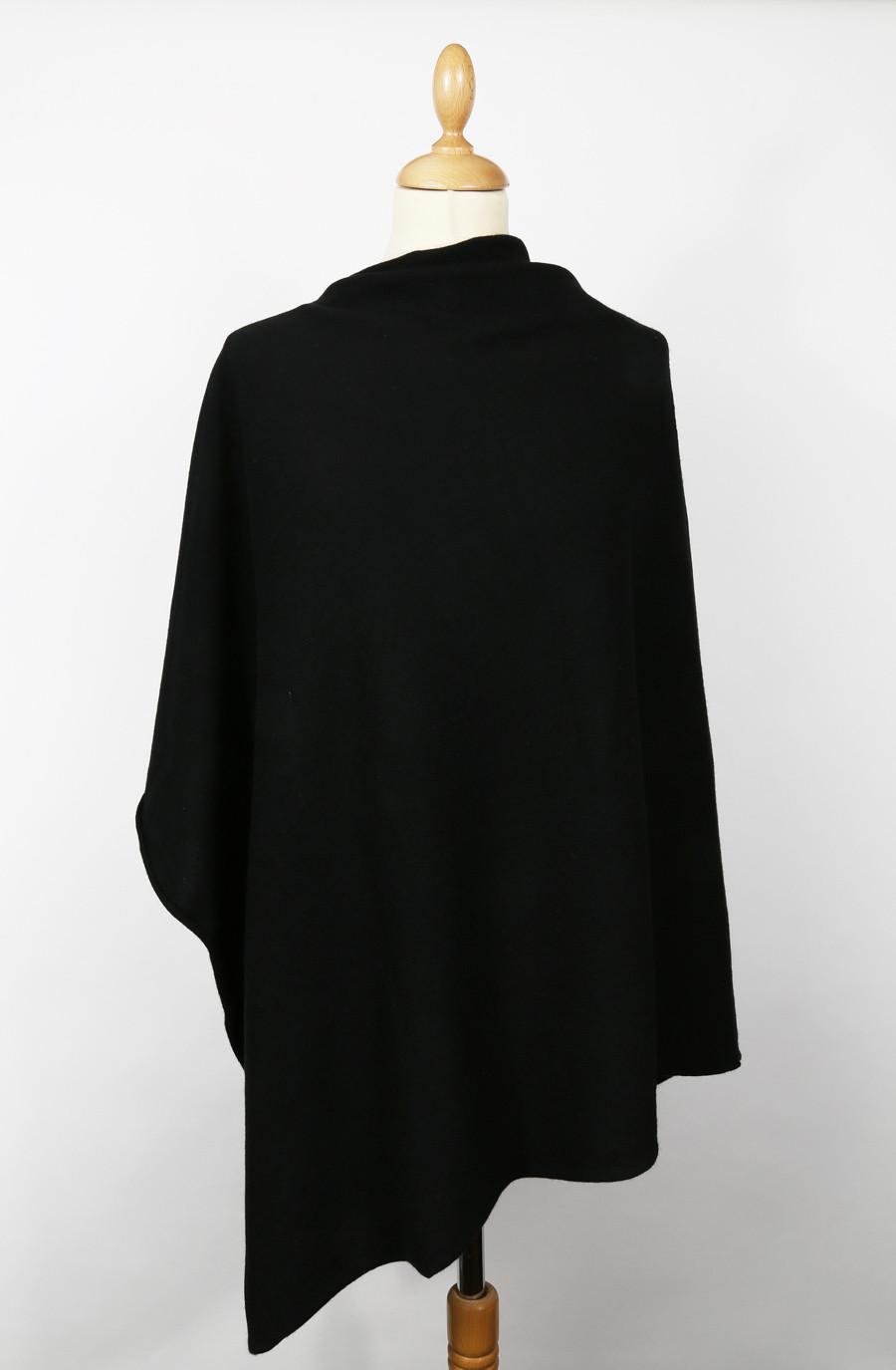 Poncho cachemire KHALA Noir (Pull)