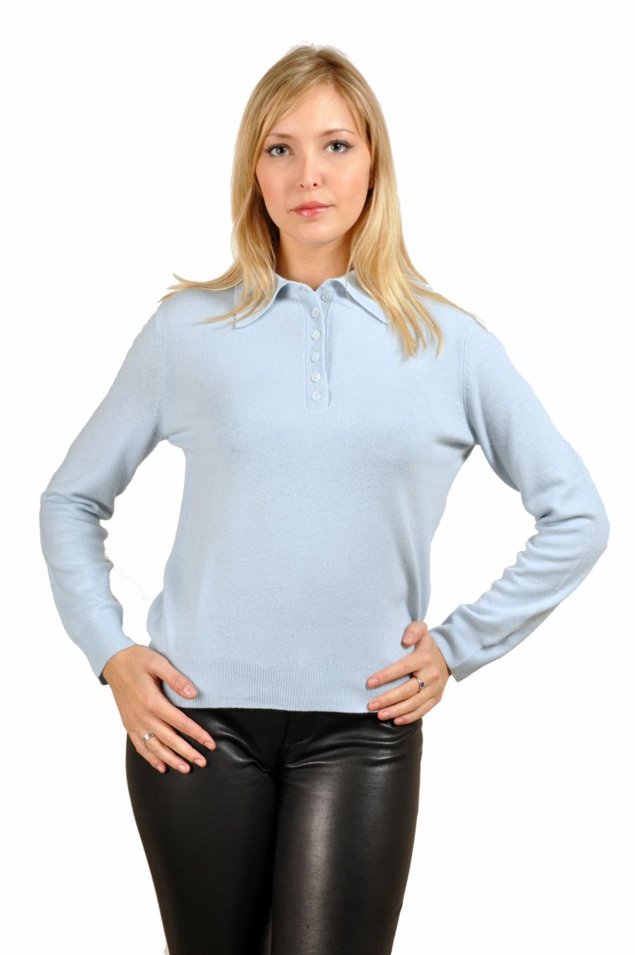 Pull col polo cachemire femme
