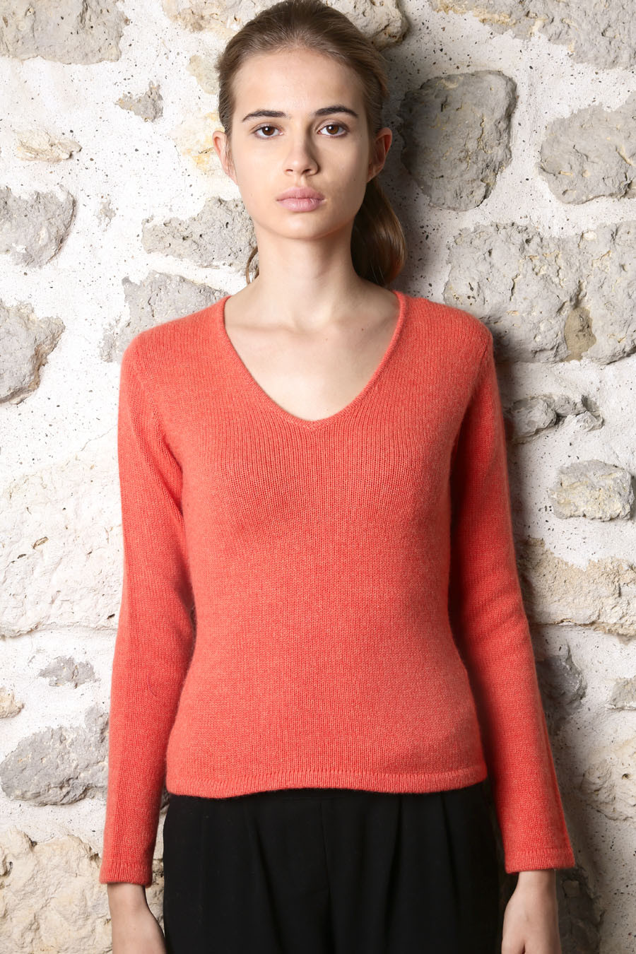 Pull cachemire femme GALA-orange-pop devant