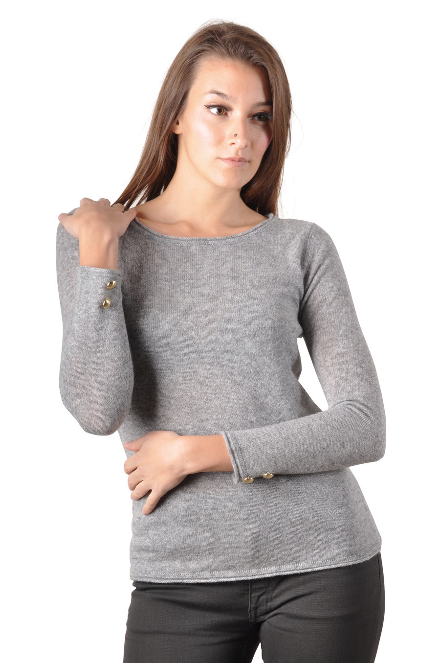 Pull cachemire femme LIDA gris clair