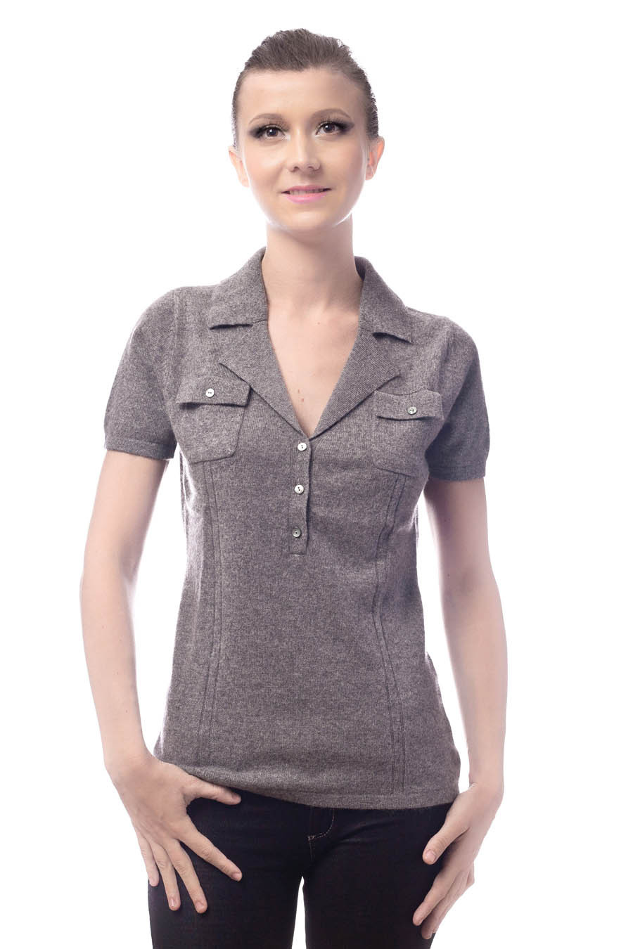 Top cachemire col polo femme OMEGA gris souris