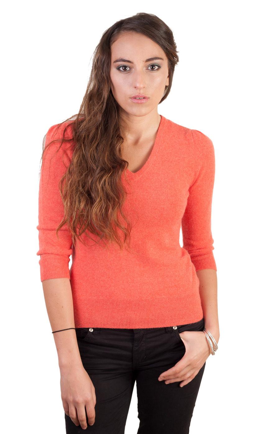 Pull femme col V en cachemire orange