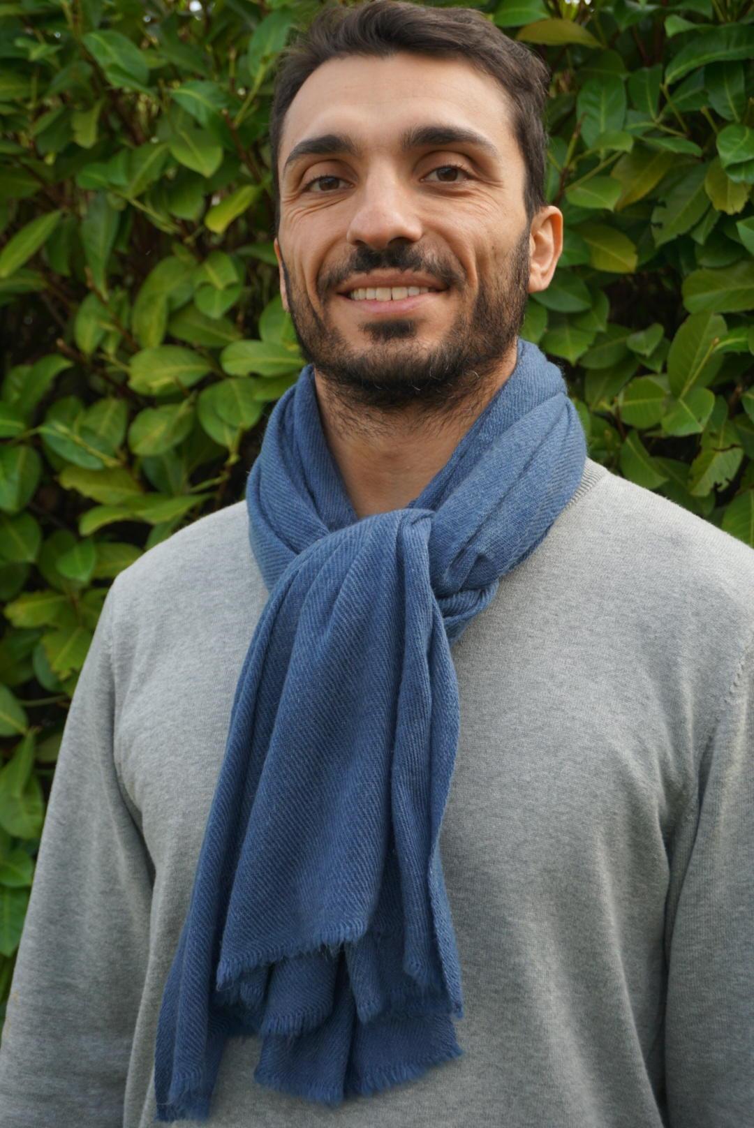 Pashmina Homme Bleu 100% Cachemire - Créateur HIMMATI