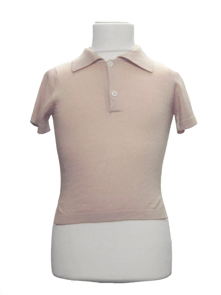 Tee-shirt col polo rose quartz pour femme