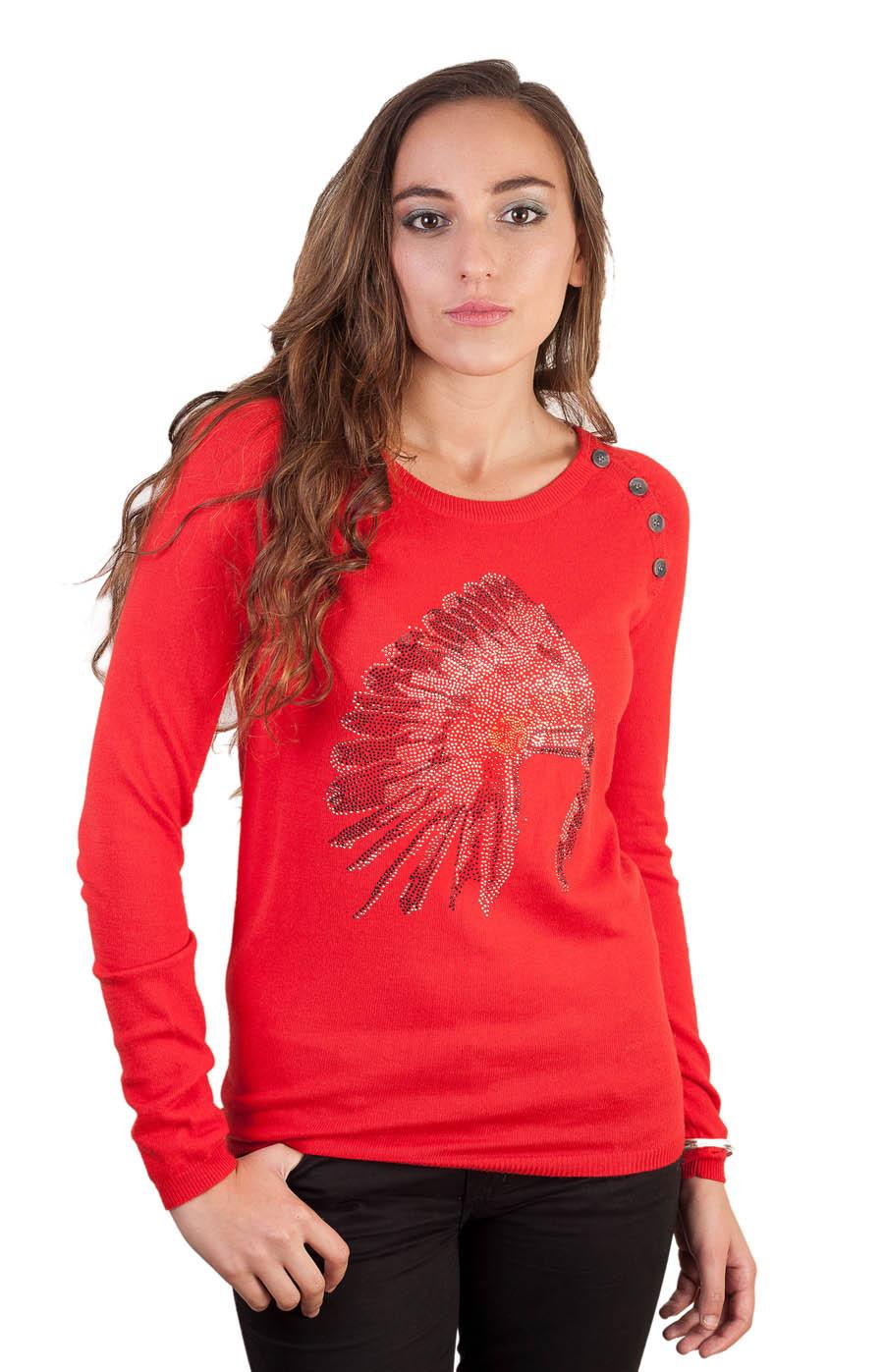 Pull col rond en cachemire mélangé de couleur rouge pour femme