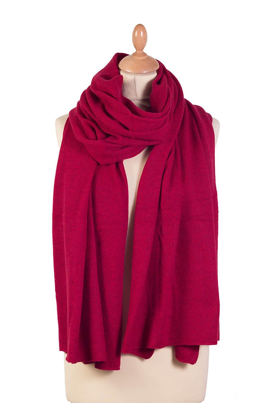 Étole cachemire TANGO Rouge rubis
