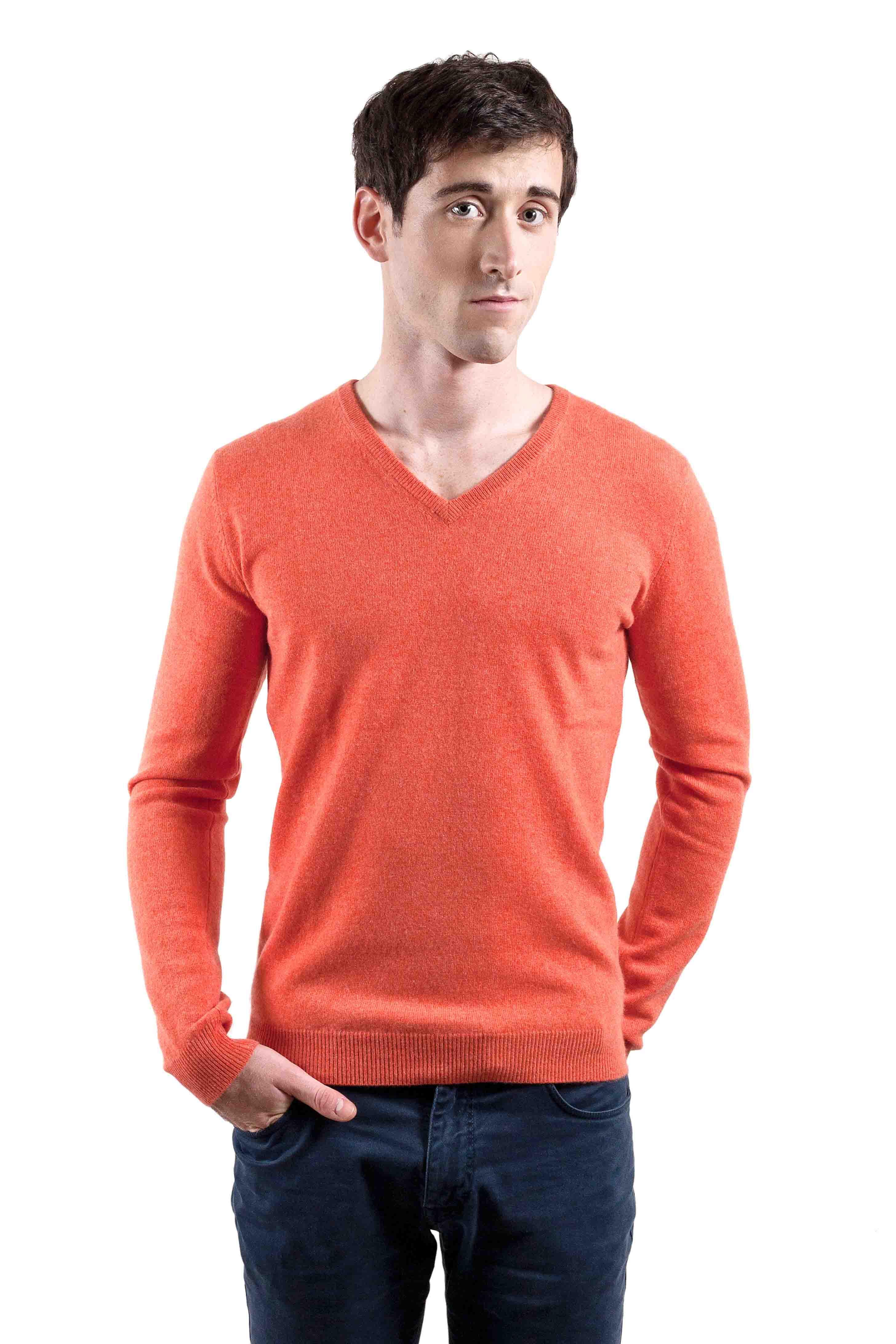 Pull cachemire homme SANTOROS-orange-S