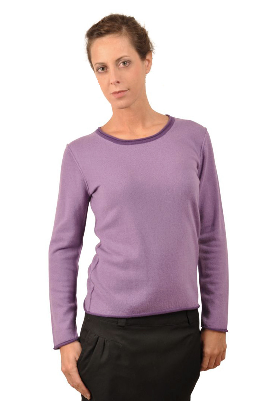 pull cachemire femme ARIANE violet devant