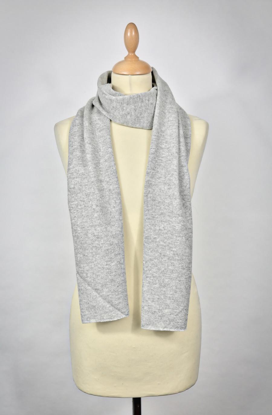 Echarpe cachemire PERLE-gris clair chiné