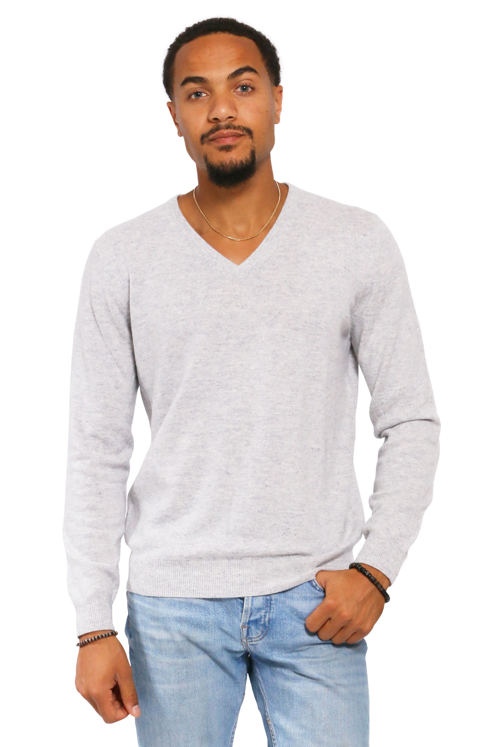 Pull cachemire homme col V droit - DIEGO GARCIA