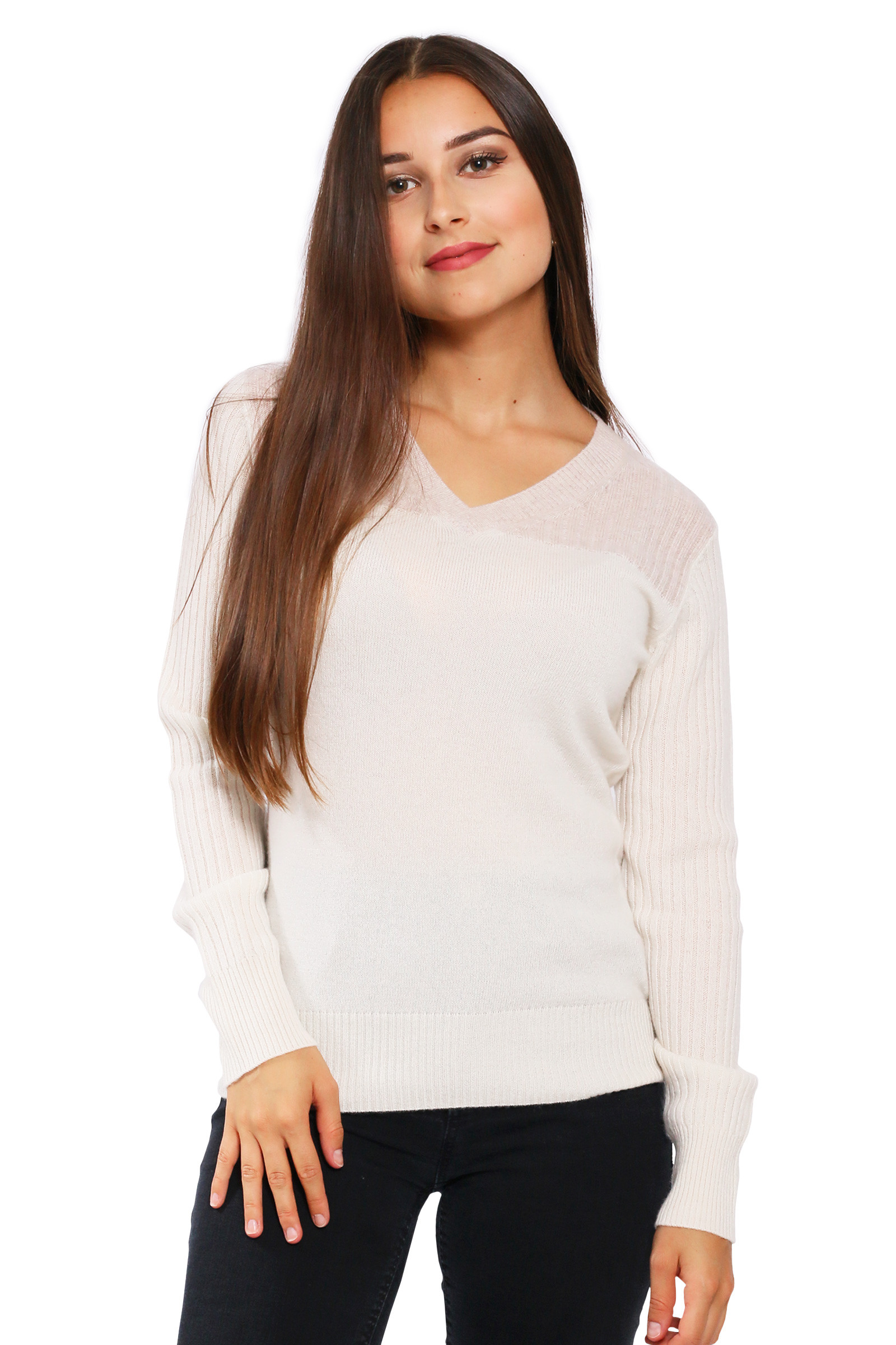Pull cachemire femme col v bicolore DIEGO GARCIA