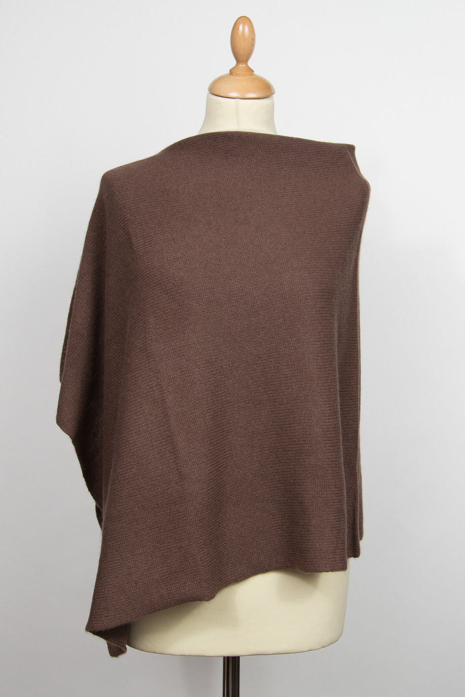 Poncho 4 fils pur cachemire marron BROWN