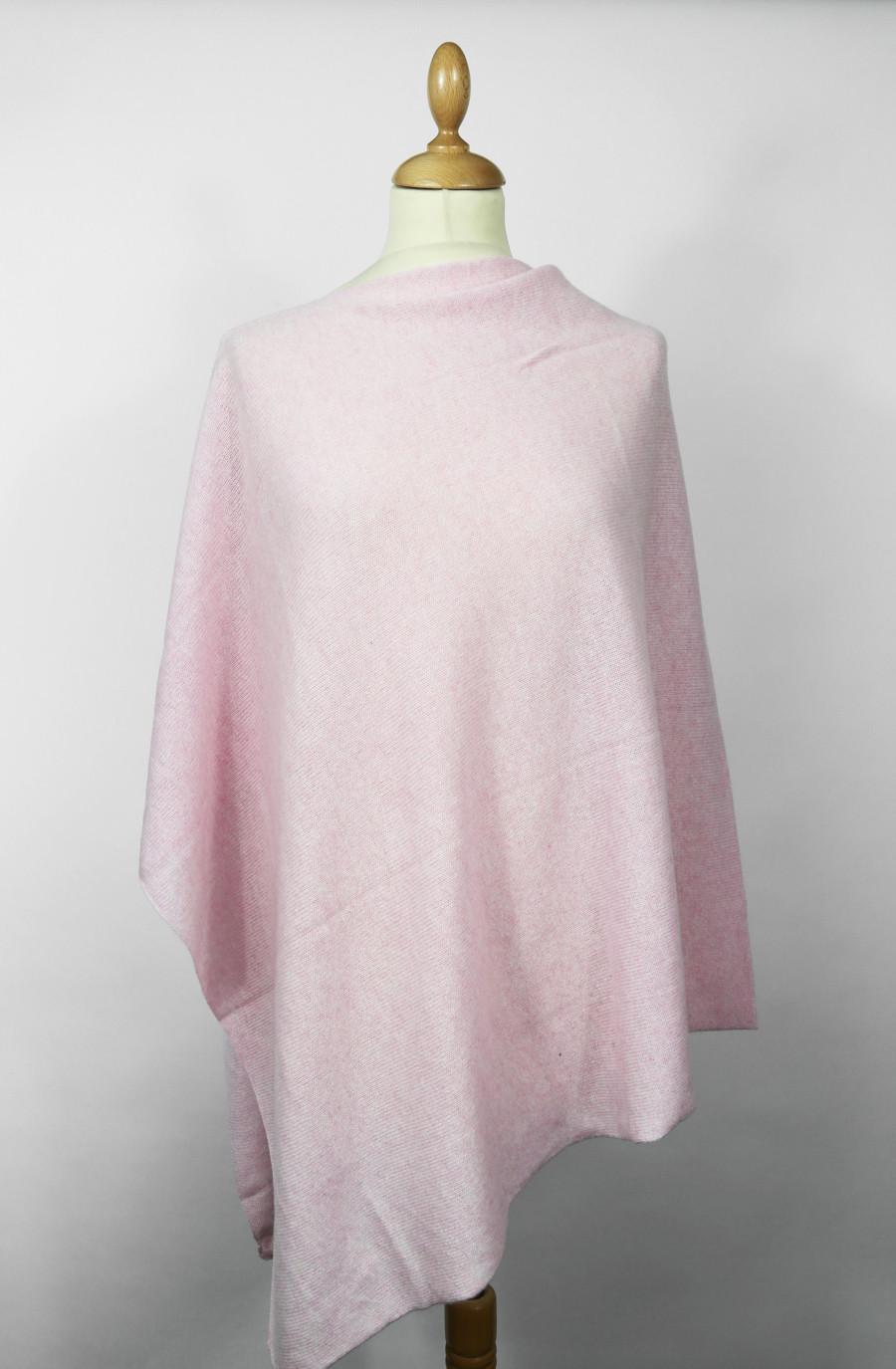Poncho cachemire FLORIE Rose quartz (Poncho)