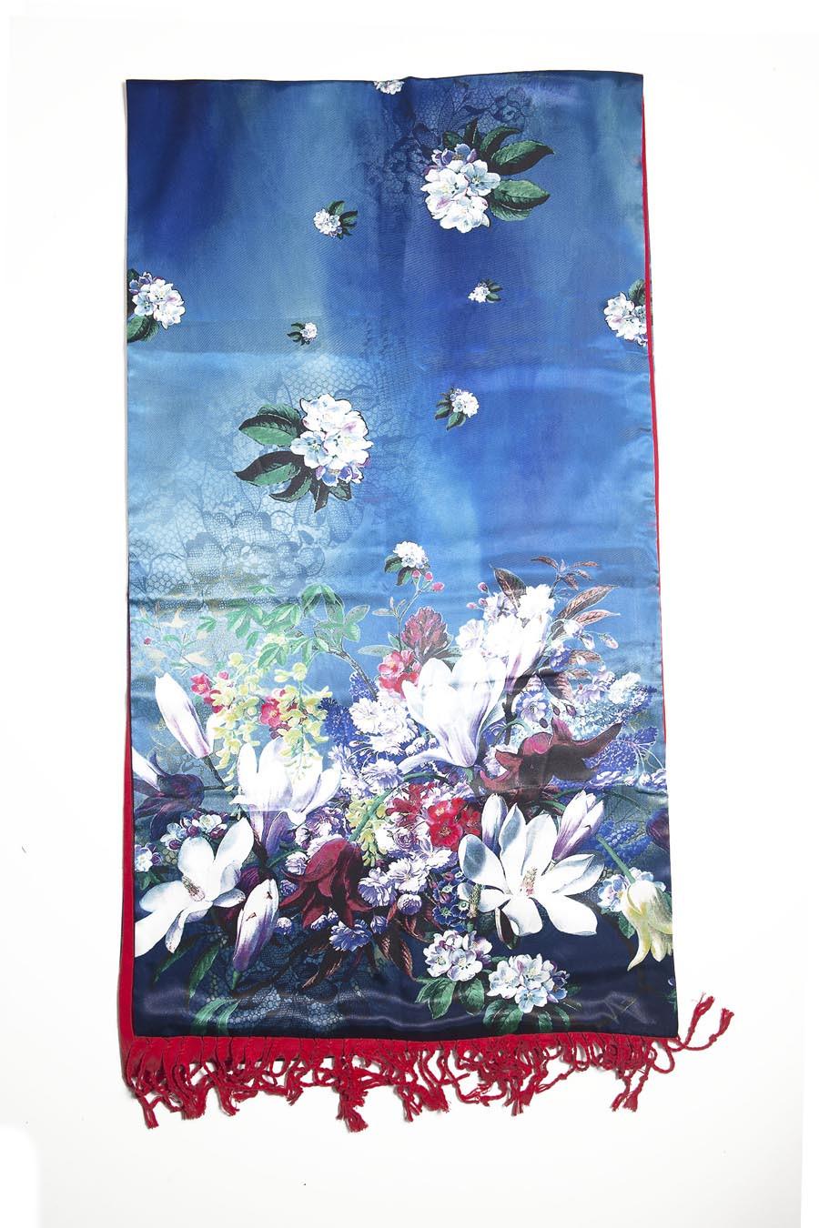 Etole soie imprimée fleurs bleues doublée cachemire rouge