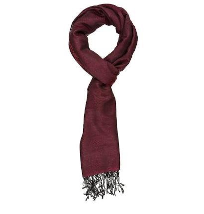 Echarpe soie et cachemire rouge Sombre - Le Comptoir de Simba