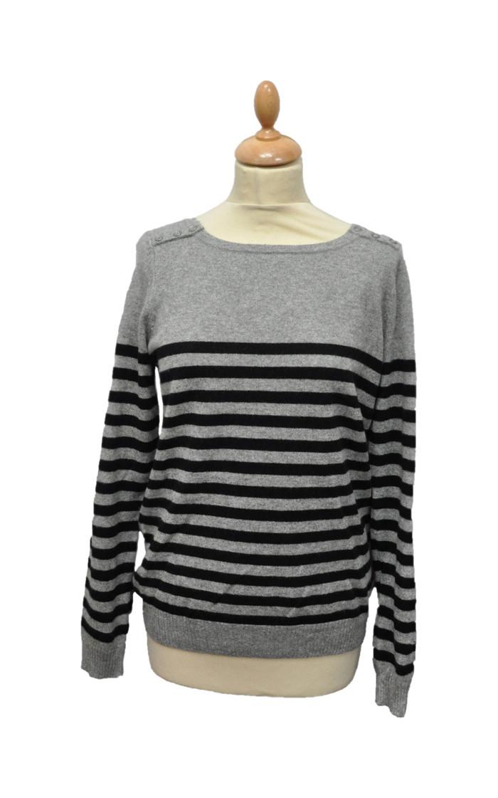 Pull marinière cachemire BASHIE-gris-XL