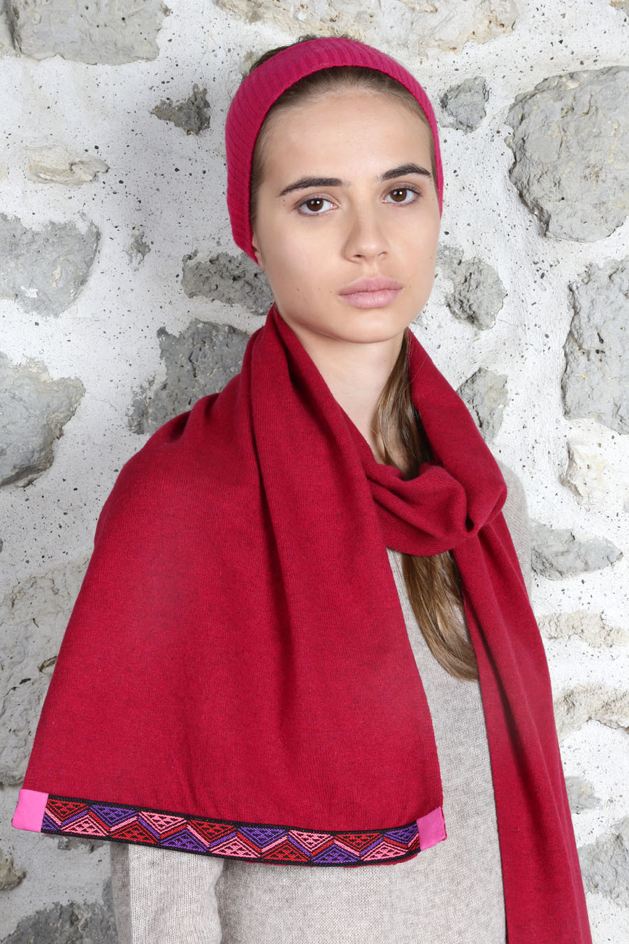 Bandeau & tour de cou cachemire femme MASHA rouge tango bandeau