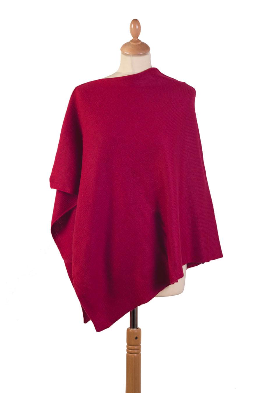 Poncho 4 fils cachemire MIZAR Rouge rubis