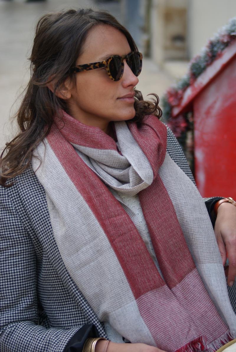 Pashmina mixte rouge et gris 100% cachemire - HIMMATI