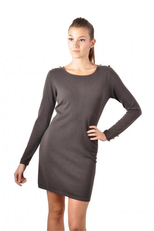 robe cachemire style militaire avec zip au dos SEXY CACHEMIRE