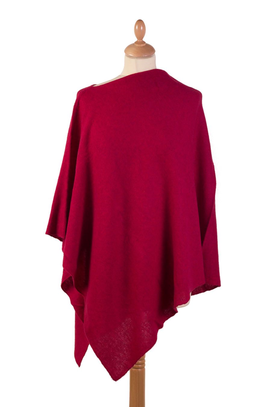 Poncho cachemire CARMEN Rouge rubis