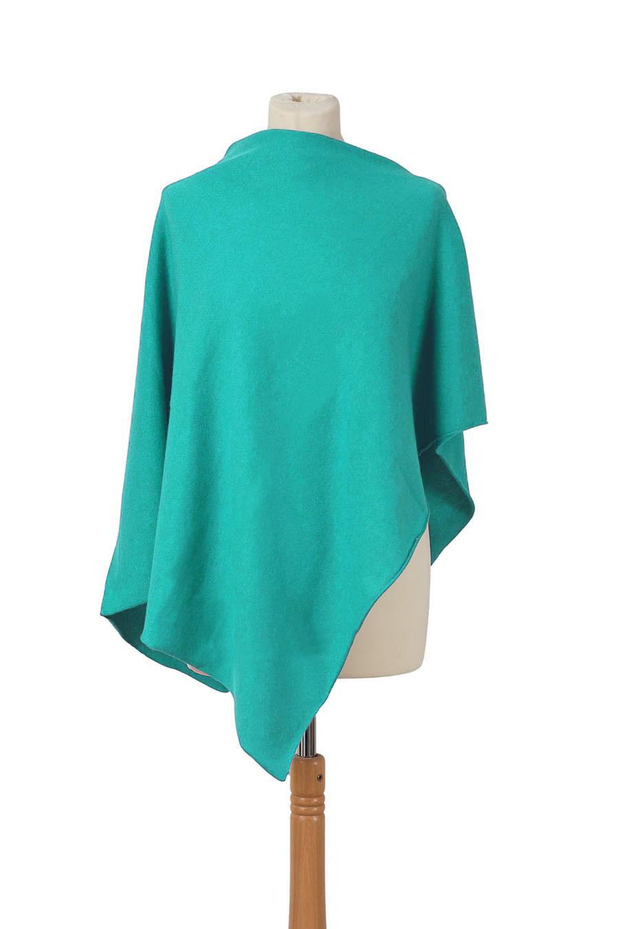 Poncho cachemire TANGA Turquoise