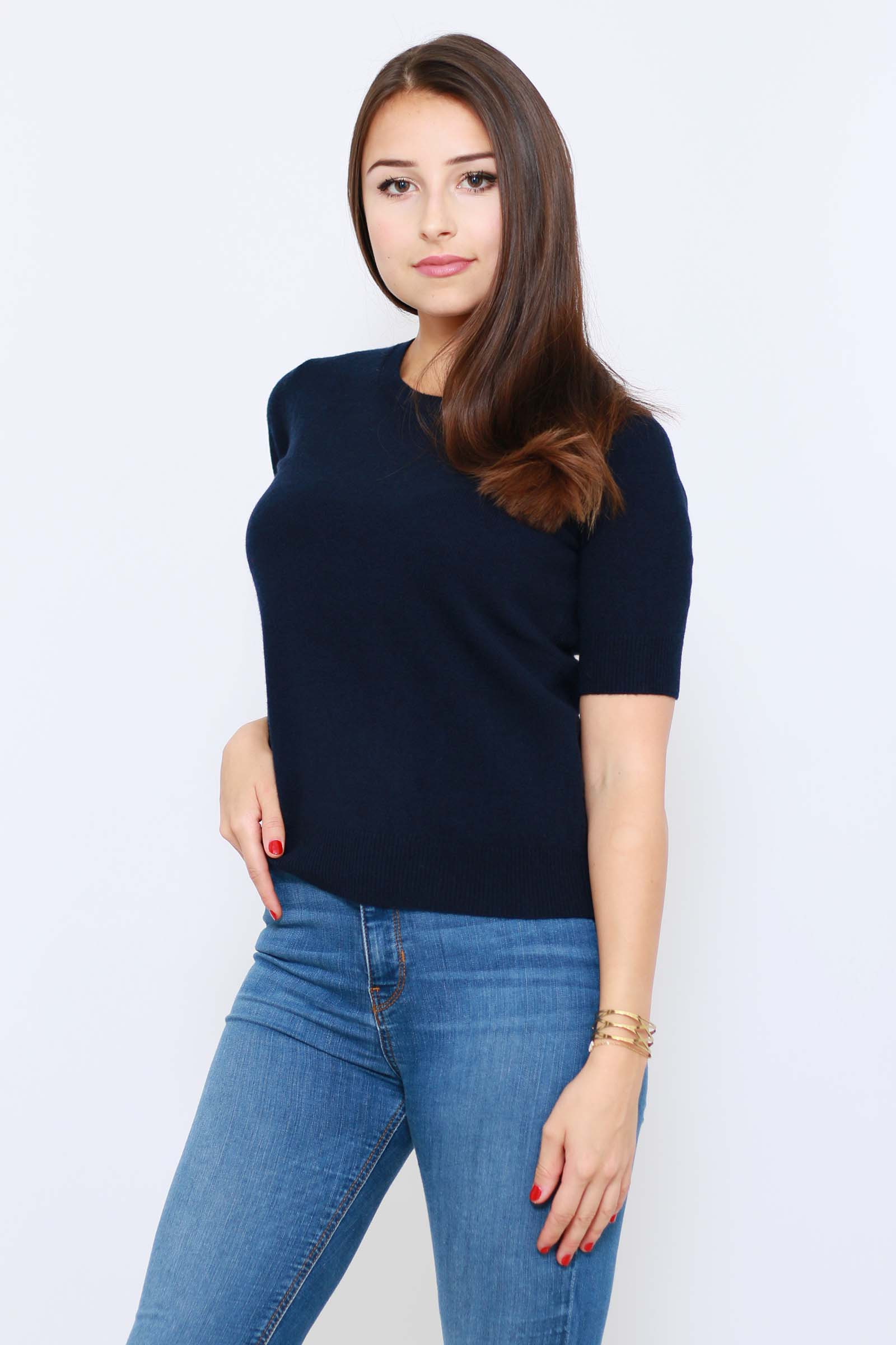 Pull manches courtes 100% cachemire col rond Femme DIEGO GARCIA