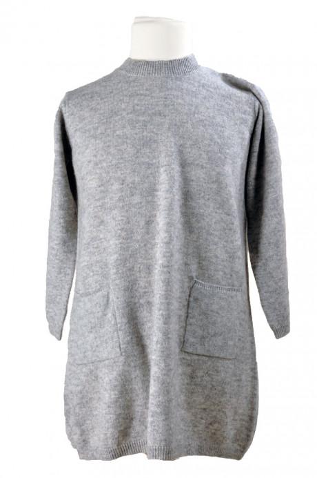 Robe longue cachemire gris enfant