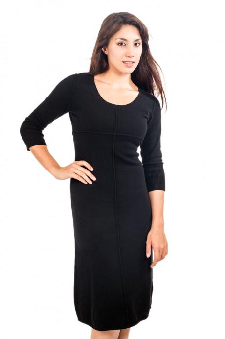 Robe longue en cachemire noir