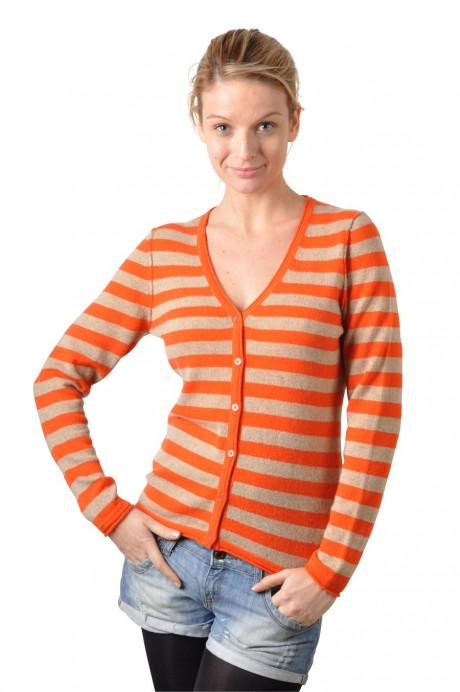 Gilet cachemire femme CAMILLE orange devant