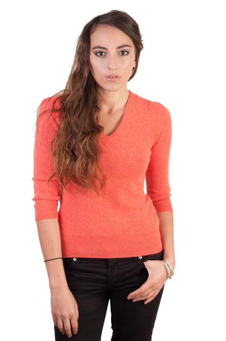 Pull cachemire femme PARIS orange corail