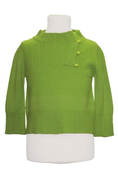 Pull col cheminée boutonné cachemire vert pour enfant