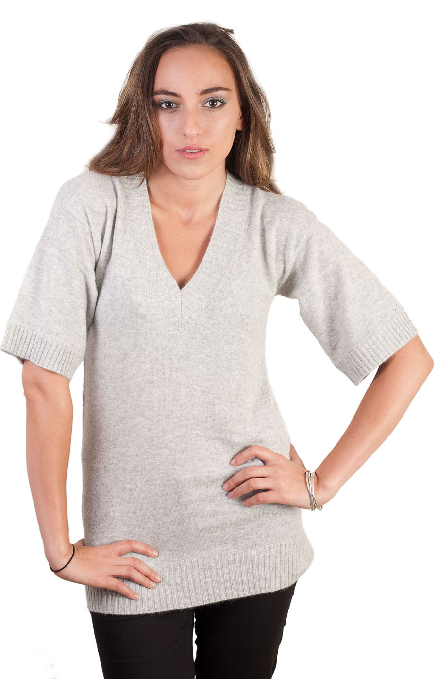 Pull tunique en cachemire gris chiné