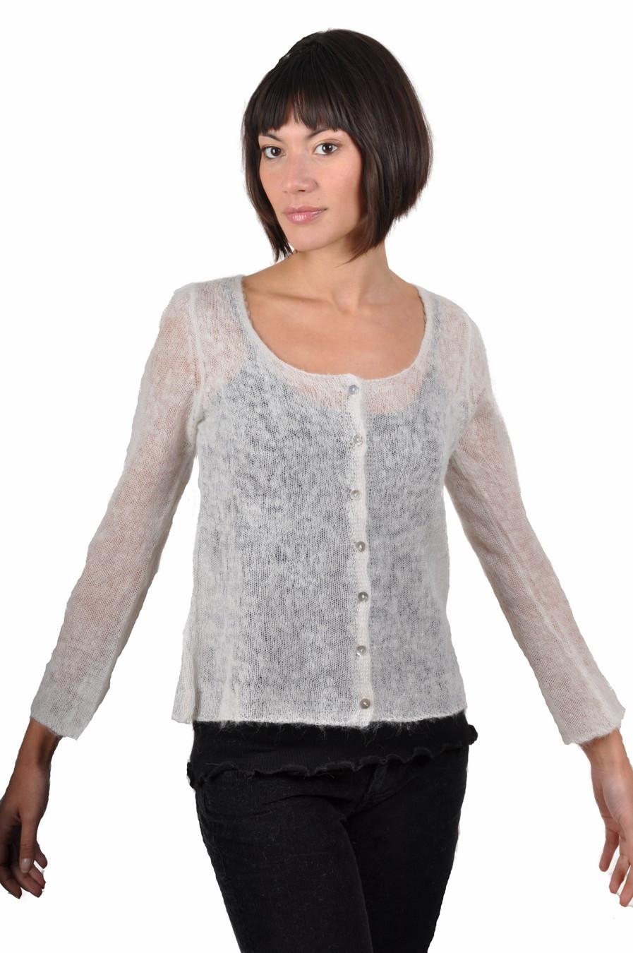 gilet col rond blanc mohair, laine, nylon (femme)