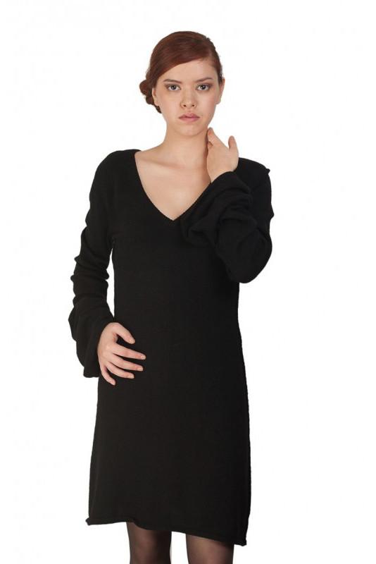 robe en pure cashmere col V avec bas de manches évasé SEXY CACHEMIRE