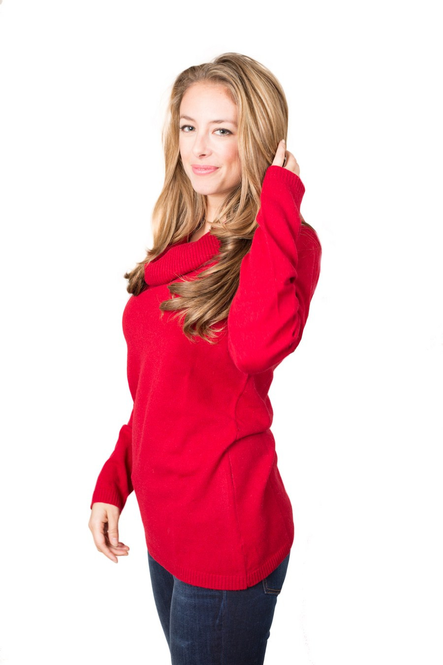 pull cachemire femme WILLOW rouge devant