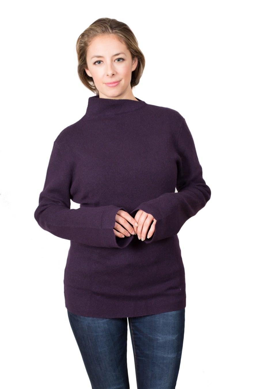 Pull cachemire femme AMBRE violet devant