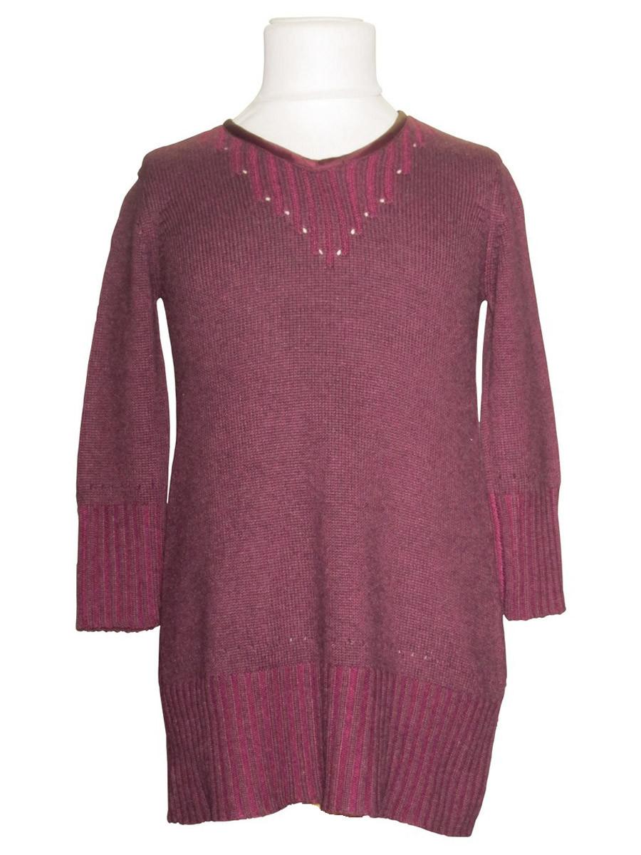 Robe cachemire soie rose pour fille