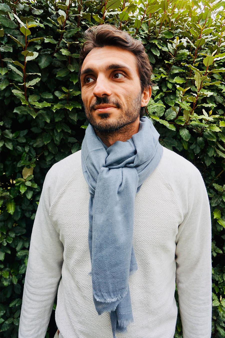 Pashmina Cachemire Homme Bleu Gris Clair - HIMMATI