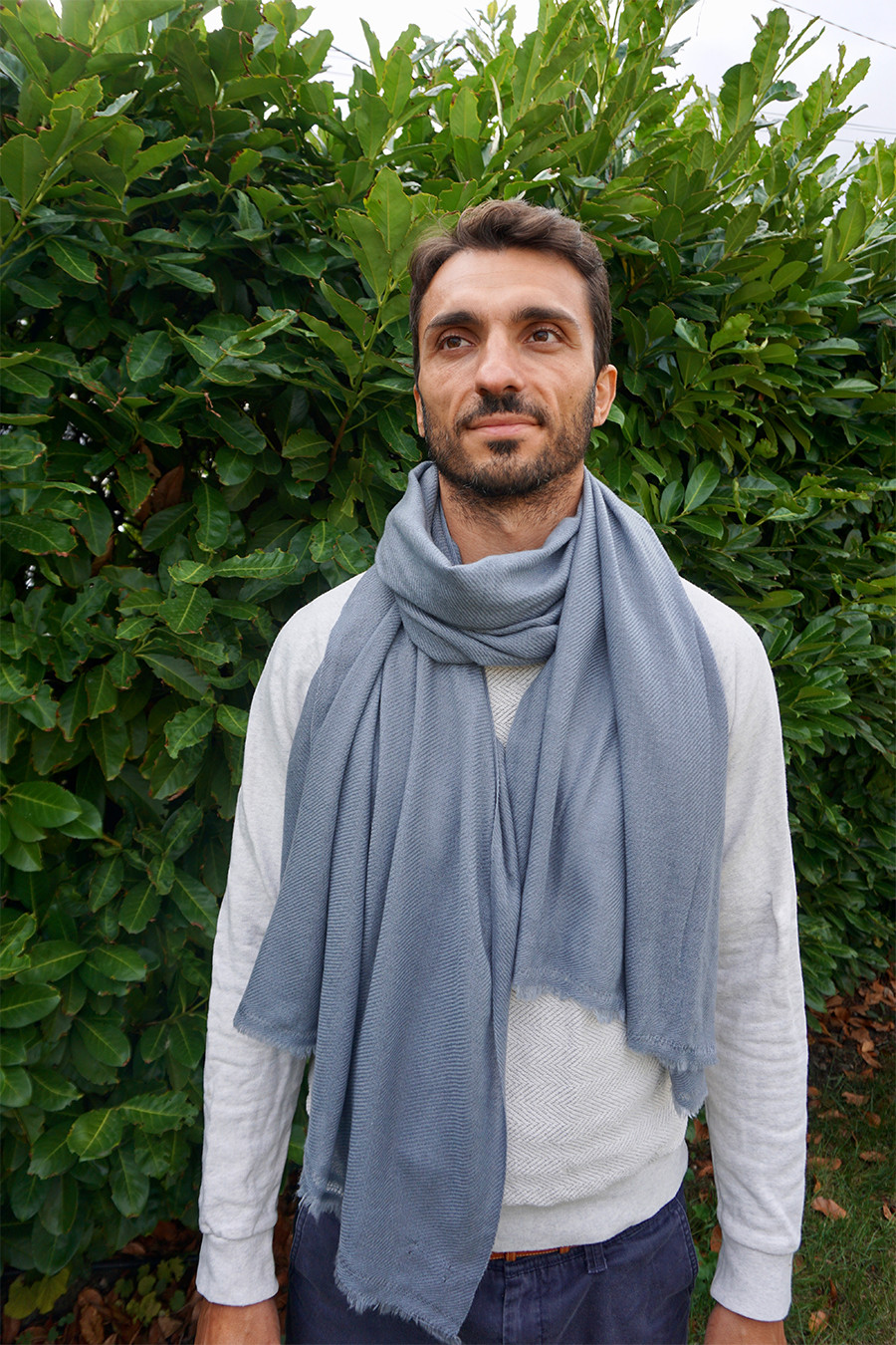 Pashmina Cachemire Homme Bleu Gris - HIMMATI