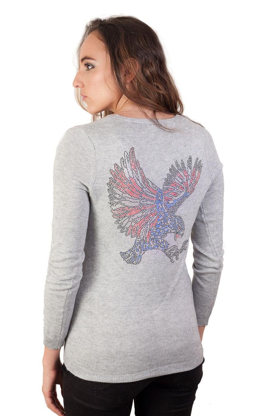 Gilet cachemire et strass Aigle gris Rebel cashmere